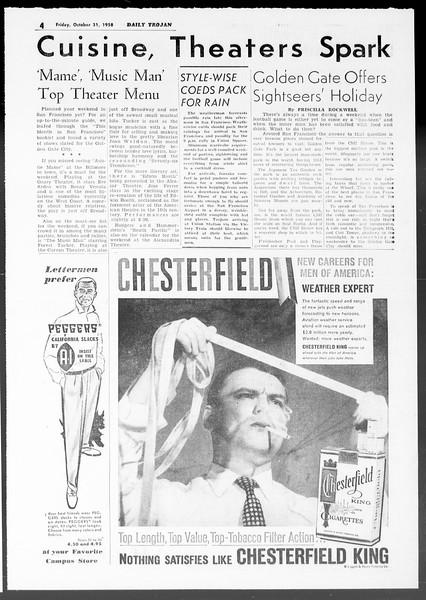 Daily Trojan, Vol. 50, No. 30, October 31, 1958
