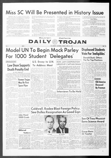 Daily Trojan, Vol. 50, No. 110, April 21, 1959