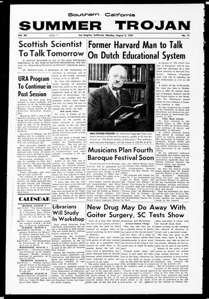 Summer Trojan, Vol. 12, No. 11, August 05, 1957