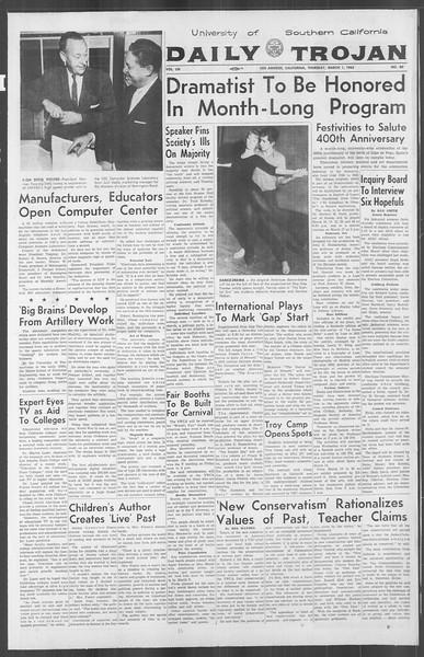 Daily Trojan, Vol. 53, No. 80, March 01, 1962