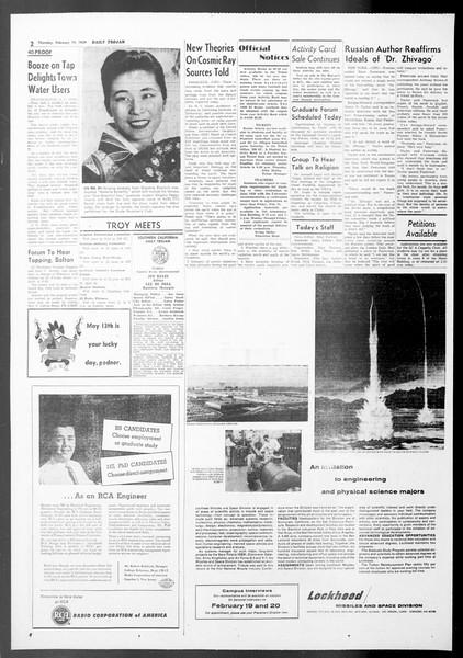 Daily Trojan, Vol. 50, No. 73, February 19, 1959
