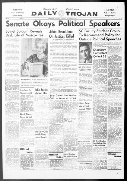 Daily Trojan, Vol. 50, No. 4, September 25, 1958