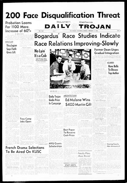 Daily Trojan, Vol. 49, No. 67, February 17, 1958