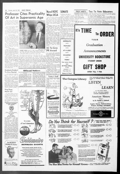 Daily Trojan, Vol. 50, No. 116, April 30, 1959
