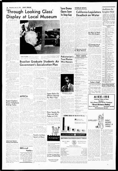 Daily Trojan, Vol. 49, No. 102, April 16, 1958