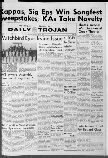 Daily Trojan, Vol. 47, No. 133, May 14, 1956