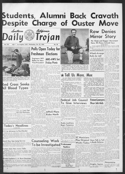 Daily Trojan, Vol. 42, No. 28, October 25, 1950