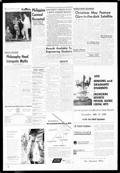 Daily Trojan, Vol. 49, No. 38, November 14, 1957