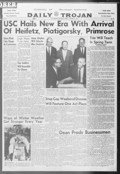 Daily Trojan, Vol. 53, No. 22, October 17, 1961