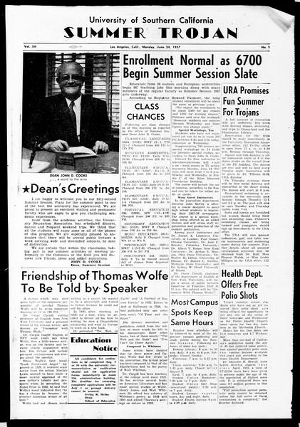 Summer Trojan, Vol. 12, No. 1, June 24, 1957
