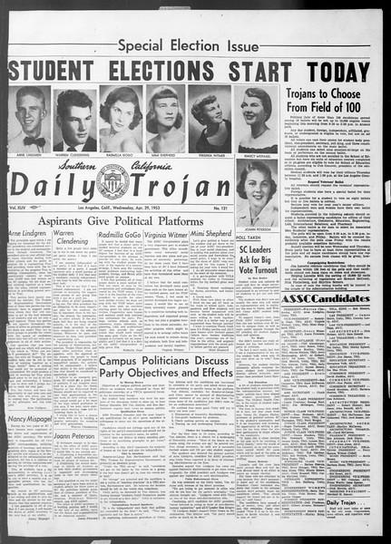 Daily Trojan, Vol. 44, No. 121, April 29, 1953