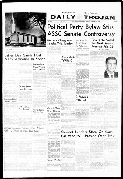 Daily Trojan, Vol. 49, No. 65, February 13, 1958