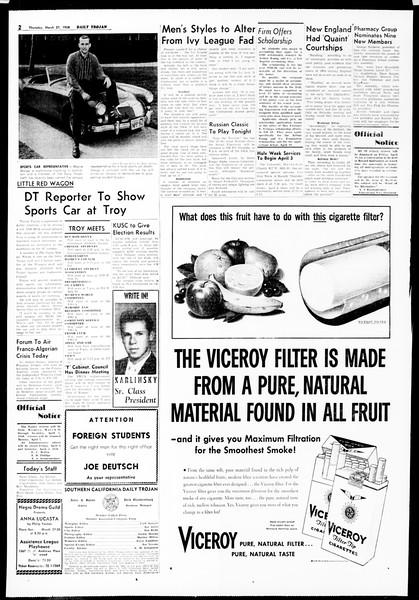 Daily Trojan, Vol. 49, No. 95, March 27, 1958