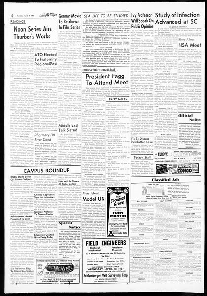 Daily Trojan, Vol. 48, No. 111, April 09, 1957