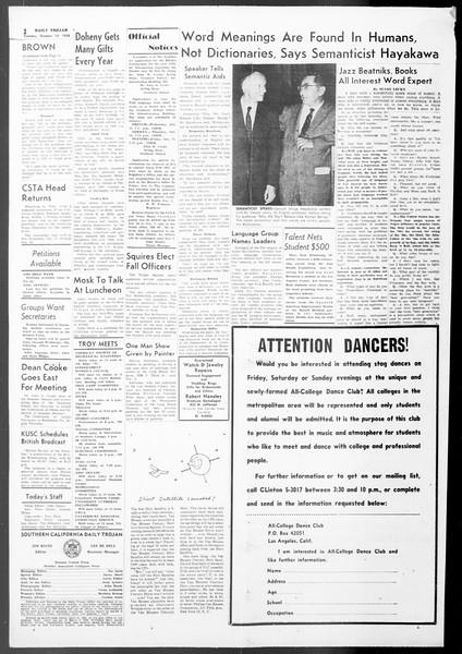 Daily Trojan, Vol. 50, No. 17, October 14, 1958