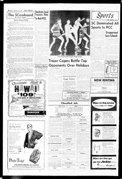Daily Trojan, Vol. 49, No. 56, December 16, 1957