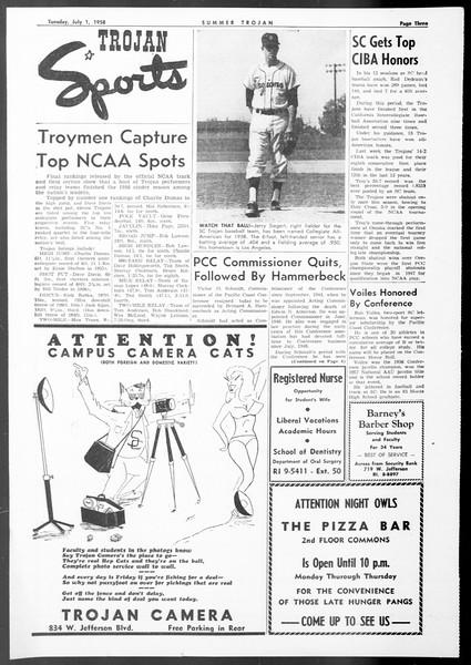 Summer Trojan, Vol. 8, No. 3, July 01, 1958