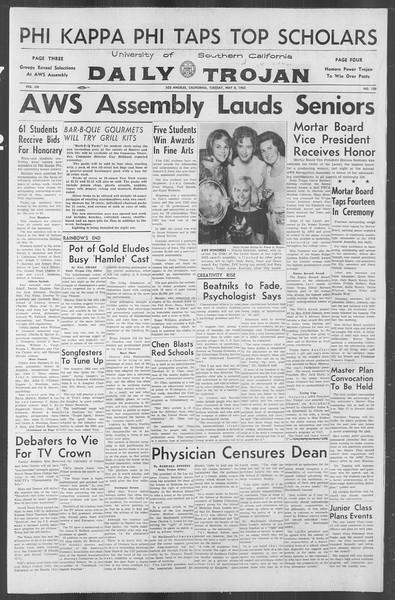 Daily Trojan, Vol. 53, No. 120, May 08, 1962