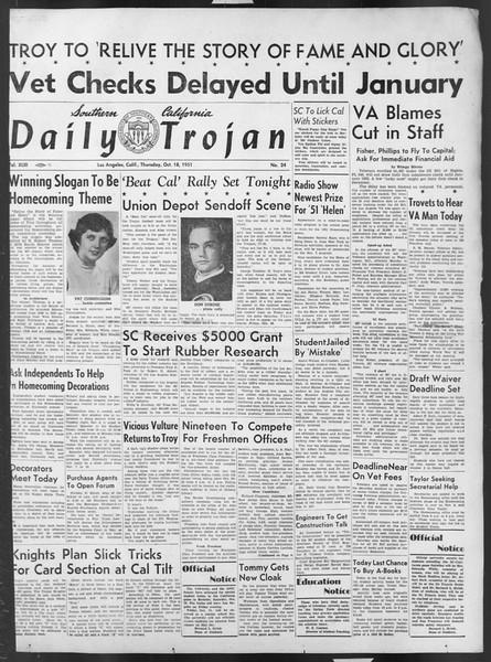 Daily Trojan, Vol. 43, No. 24, October 18, 1951