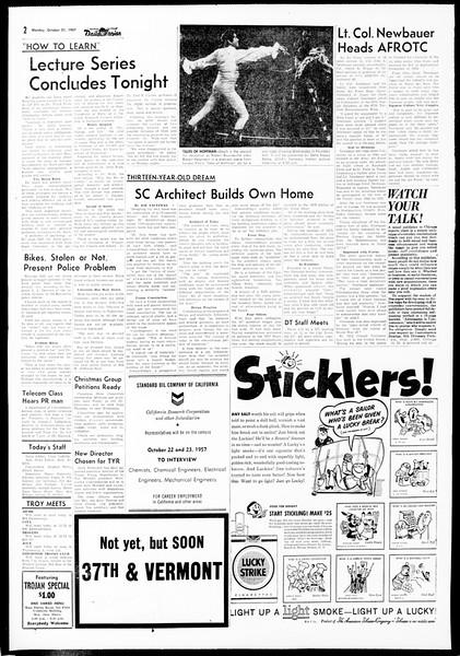 Daily Trojan, Vol. 49, No. 20, October 21, 1957