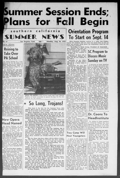 Summer News, Vol. 8, No. 17, August 24, 1953
