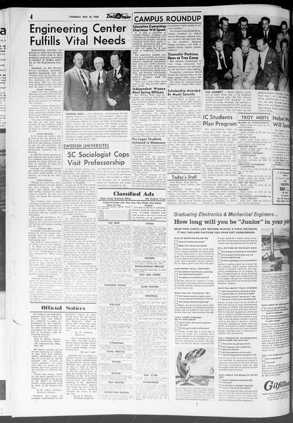 Daily Trojan, Vol. 47, No. 131, May 10, 1956