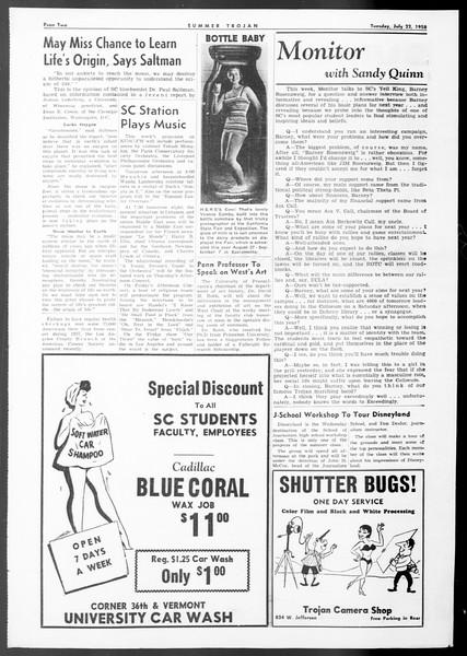 Summer Trojan, Vol. 8, No. 8, July 22, 1958