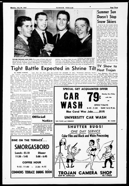 Summer Trojan, Vol. 12, No. 10, July 29, 1957