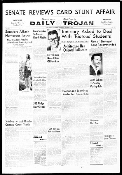 Daily Trojan, Vol. 49, No. 13, October 10, 1957