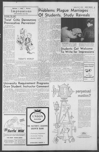 Daily Trojan, Vol. 53, No. 72, February 19, 1962