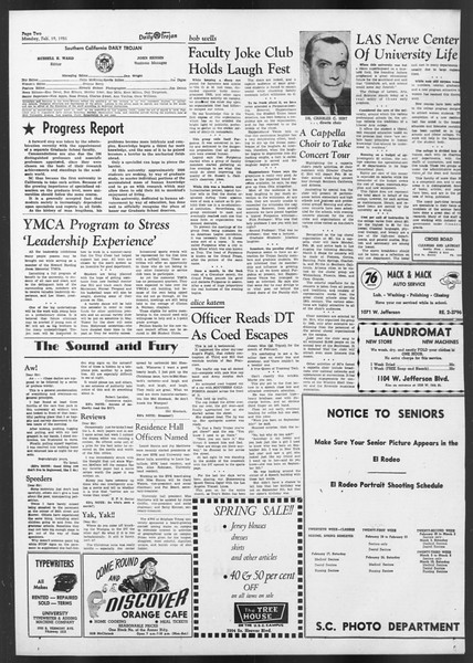 Daily Trojan, Vol. 42, No. 74, February 19, 1951