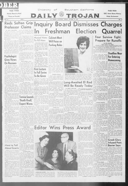 Daily Trojan, Vol. 53, No. 17, October 10, 1961