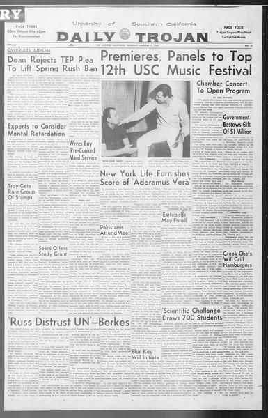 Daily Trojan, Vol. 53, No. 61, January 04, 1962