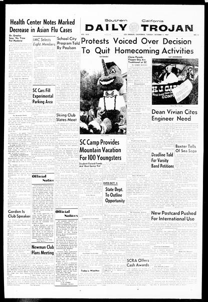 Daily Trojan, Vol. 49, No. 6, October 01, 1957