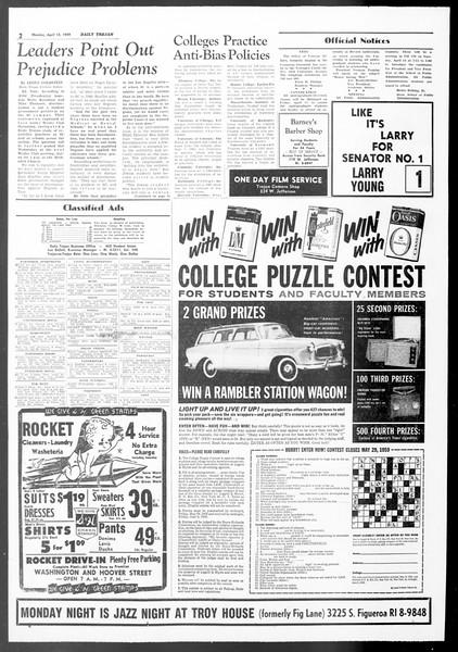 Daily Trojan, Vol. 50, No. 104, April 13, 1959