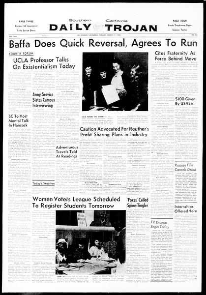 Daily Trojan, Vol. 49, No. 83, March 11, 1958