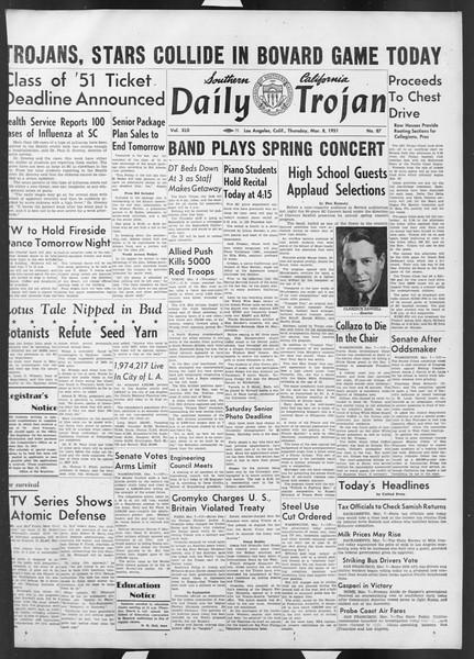 Daily Trojan, Vol. 42, No. 87, March 08, 1951