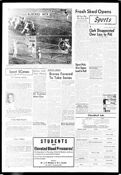 Daily Trojan, Vol. 49, No. 11, October 08, 1957