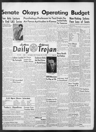 Daily Trojan, Vol. 42, No. 43, November 16, 1950