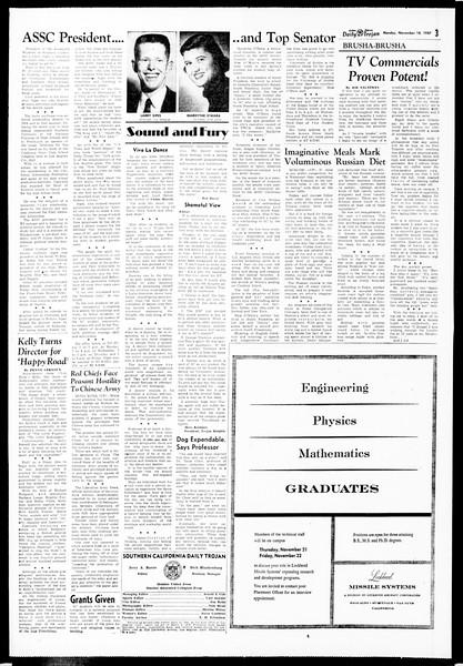 Daily Trojan, Vol. 49, No. 40, November 18, 1957