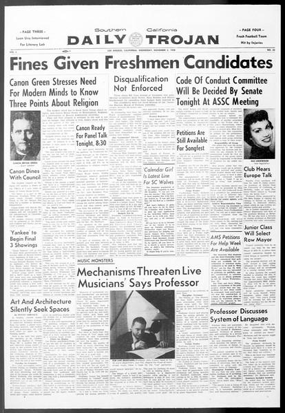 Daily Trojan, Vol. 50, No. 33, November 05, 1958