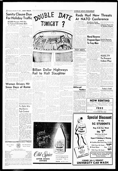Daily Trojan, Vol. 49, No. 54, December 12, 1957