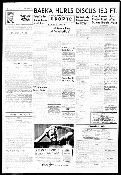 Daily Trojan, Vol. 49, No. 87, March 17, 1958