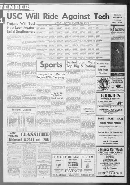 Daily Trojan, Vol. 53, No. 5, September 22, 1961