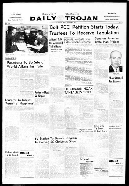 Daily Trojan, Vol. 49, No. 50, December 06, 1957