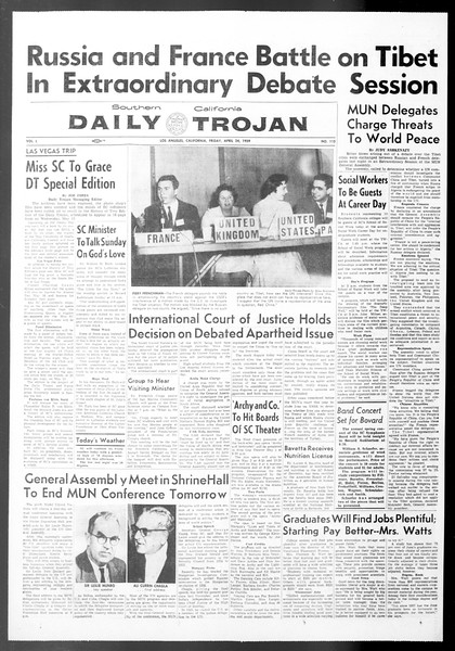 Daily Trojan, Vol. 50, No. 113, April 24, 1959