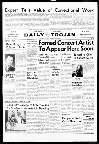 Daily Trojan, Vol. 48, No. 62, January 03, 1957