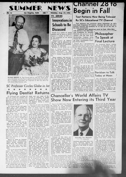 Summer News, Vol. 8, No. 16, August 17, 1953