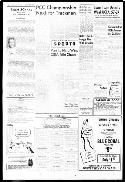 Daily Trojan, Vol. 49, No. 121, May 20, 1958