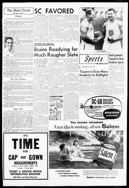 Daily Trojan, Vol. 48, No. 131, May 15, 1957